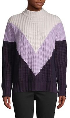 Autumn Cashmere Tri-Color Shaker Mockneck Sweater
