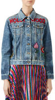 Gucci Embroidered Stained Denim Jacket, Blue