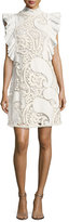 See by Chloe Smocked-Collar Sleeveless Ruffled Lace Mini Dress, White