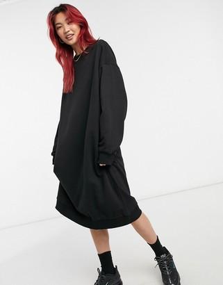 Weekday Payton midi sweatshirt dress in black