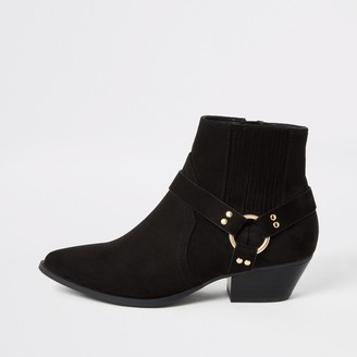 River Island Womens Black suedette buckle side western boots