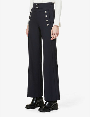 Chloé Button-embellished wide-leg high-rise stretch-wool trousers