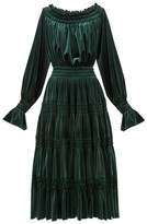 Norma Kamali Off-the-shoulder Smocked Velvet Midi Dress - Womens - Dark Green