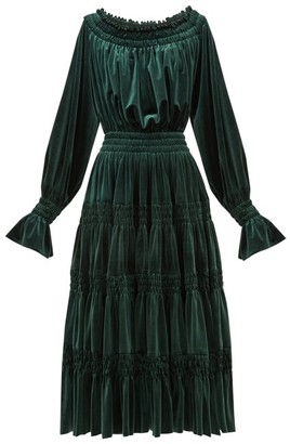 Norma Kamali Off-the-shoulder Smocked Velvet Midi Dress - Dark Green