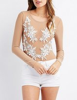 Charlotte Russe Floral Embroidered Mesh Bodysuit