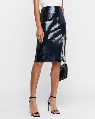 Express High Waisted Sequin Pencil Skirt