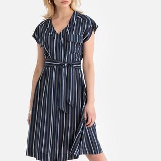 Anne Weyburn Striped Mid-Length Dress with Tie-Waist