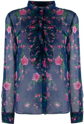 Philosophy di Lorenzo Serafini Sheer Rose-Print Shirt