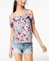 Ultra Flirt By Ikeddi Juniors' Cotton Cold-Shoulder Top