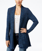 NY Collection Petite Marled Fan-Back Cardigan