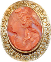 One Kings Lane Vintage 14K Gold & Coral Cameo Brooch/Pendant