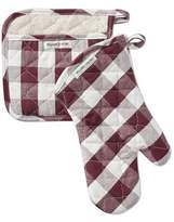 Williams-Sonoma Williams Sonoma Checkered Oven Mitt & Potholder Set, Burgundy