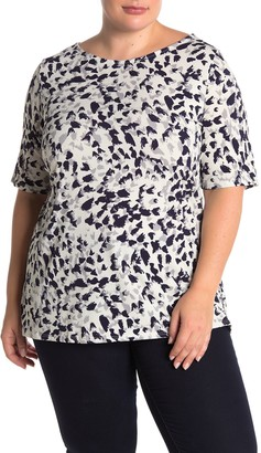 Leota Elbow Length Leopard Print Tunic Top (Plus Size)