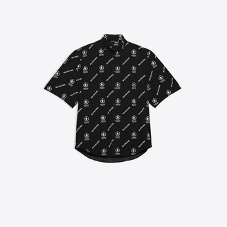 Balenciaga Short Sleeve Square Back Shirt in black and white WFP printed cotton poplin