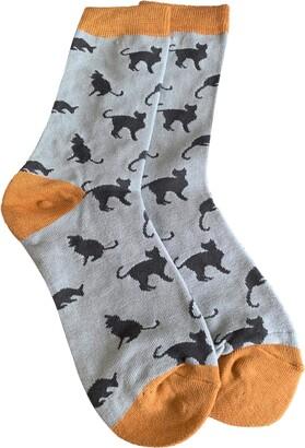 Purple Possum Socks Cat Print Ladies Cats Sock Soft Bamboo Cotton Blend Gift Idea (Blue grey)