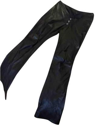 Chrome Hearts Brown Leather Trousers for Women