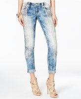 Miss Me Aztec-Embroidered Acid Wash Jeans