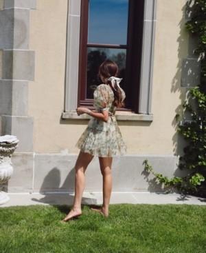 Danielle Bernstein Printed Organza Puff-Sleeve Mini Dress, Created for Macy's