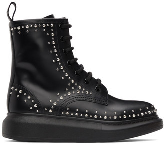 Alexander McQueen Black Leather Studded Lace-Up Boots