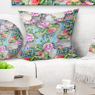 "East Urban Home Floral Flower Pattern Pillow Size: 16"" x 16"", Product Type: Throw Pillow"