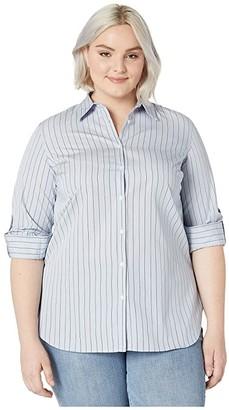 Lauren Ralph Lauren Plus Size 70s Non Stretch-Shirt (Blue Multi) Women's Clothing