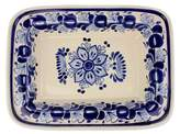 Blue Majolica Ceramic Platter Handmade in Mexico, 'Colonial Bouquet'