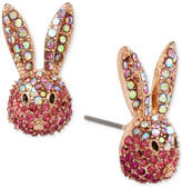Betsey Johnson Gold-Tone Pink Pave Bunny Stud Earrings