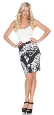 White Mark Pretty and Proper Leaf Print Pencil Skirt