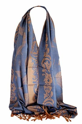 Bullahshah Pashmina Feel Peacock Feather Print Shawl Wrap Scarf Stole Floral Ethnic Border Head Scarves (Teal Blue & Beige)