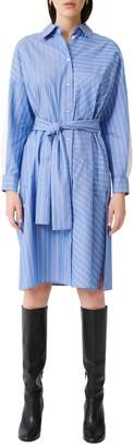 Maje Roxelle Striped Cotton Shirtdress