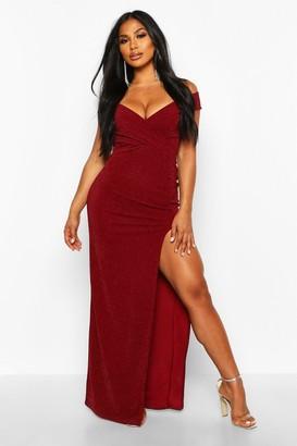 boohoo Bardot Sparkle Crepe Maxi Dress