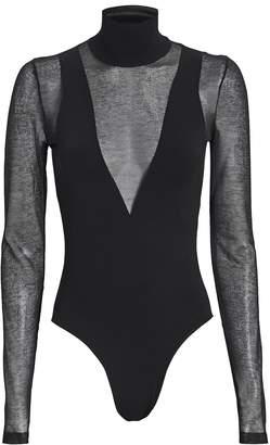 Zeynep Arcay Mesh Turtleneck Long Sleeve Bodysuit
