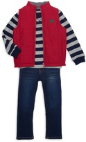 Buffalo David Bitton Little Boy's 3-Piece Vest, Striped Sweatshirt & Jeans Set