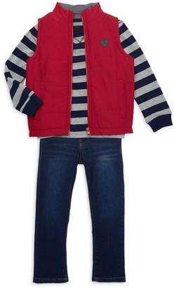 Buffalo David Bitton Little Boy's 3-Piece Vest, Striped Sweatshirt & Jeans Set