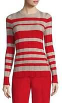 Derek Lam Striped Wide-Rib Crewneck Sweater