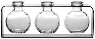 clear Couronne Co. Trivo Three Recycled Glass Vases and Metal Stand,