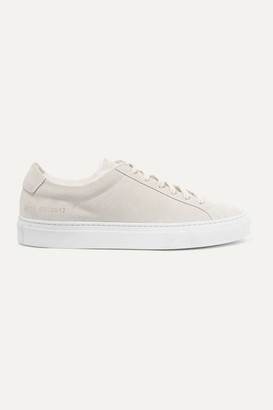 Common Projects Retro Low Shearling-lined Suede Sneakers - Light gray