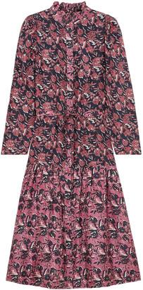 Apiece Apart Marijn Dunegrass Printed Silk-broadcloth Midi Dress