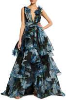 Marchesa Floral Print Organza Ball Gown