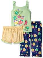 Komar Kids Big Girls 3 Piece Sleepwear Set Fruit Salad Short Set with Print Pant