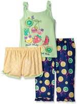 Komar Kids Big Girls 3 Piece Sleepwear Set Fruit Salad Short Set with Print Pant