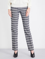 Victoria Beckham Checked straight mid-rise wool-blend trousers