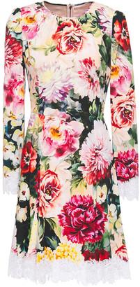 Dolce & Gabbana Lace-trimmed Floral-print Crepe Mini Dress