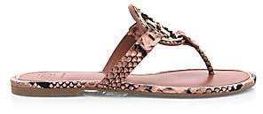 Tory Burch Women's Miller Metal Snakeskin-Embossed Leather Thong Sandals