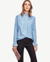 Ann Taylor Stripe Ruffle Trimmed Popover
