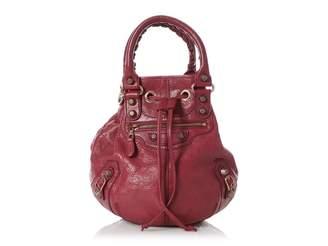 Balenciaga Pompon Burgundy Leather Handbags