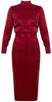 Undress Thalia Deep Red Turtleneck Open Back Midi Dress