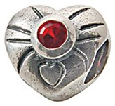 Zable Sterling Silver Heart July Birth Month with Red CZ Bead