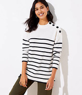 LOFT Striped Shoulder Button Tunic Sweater