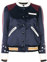 Coach embroidered satin bomber jacket - women - Calf Leather/Nylon/Polyester/Viscose - 4